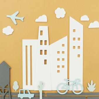 Conceito de transporte urbano com bicicleta e avião