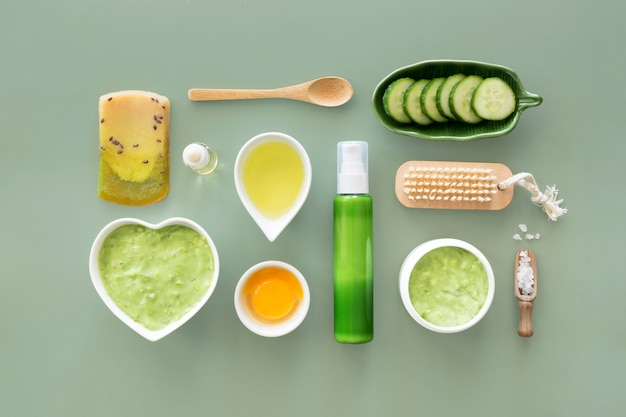Conceito de tratamento de spa com frutas e vegetais