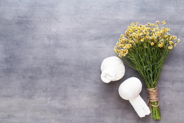 Conceito de tratamento de spa, composição plana leiga com produtos cosméticos naturais e escova de massagem