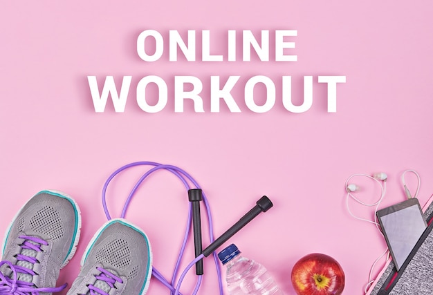 Conceito de treino de quarentena on-line, fique em casa e fique em forma