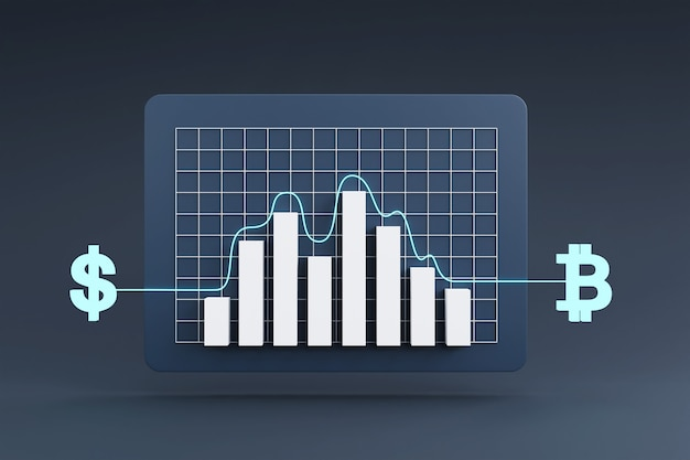 Conceito de troca de moeda online com gráfico de crescimento da taxa de câmbio