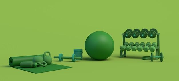 Conceito de um ginásio com esteira, bola de pilates, pesos ... ilustração 3d. copie o espaço. ginástica.