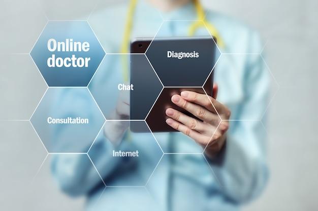 Conceito de um médico online se comunicando em um tablet.