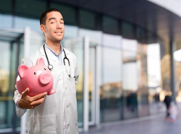 Conceito de um médico preocupado com sua economia