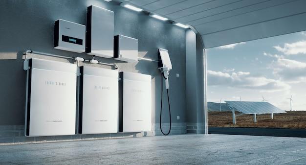 Conceito de um sistema de armazenamento de energia em casa - renderização em 3d
