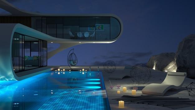 Conceito de uma moderna villa futurista à beira-mar