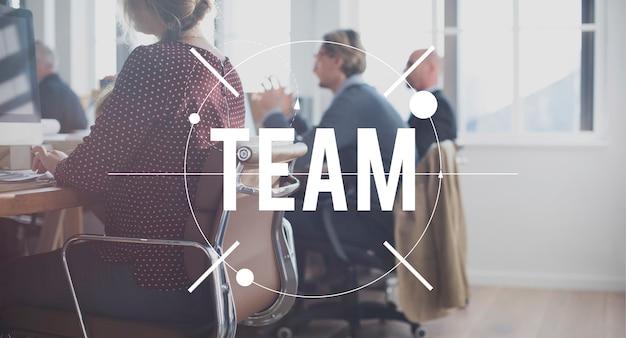 Conceito de unidade de conexão de colaboração de equipe de trabalho