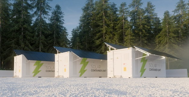 Conceito de unidades de contêineres solares situadas na ilustração de .3d do ambiente florestal.