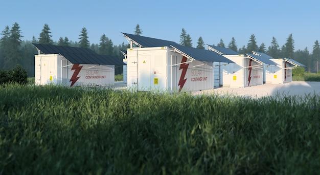 Conceito de unidades de contêineres solares situadas na natureza fresca e ensolarada, com grama no primeiro plano e floresta no fundo. ilustração 3d
