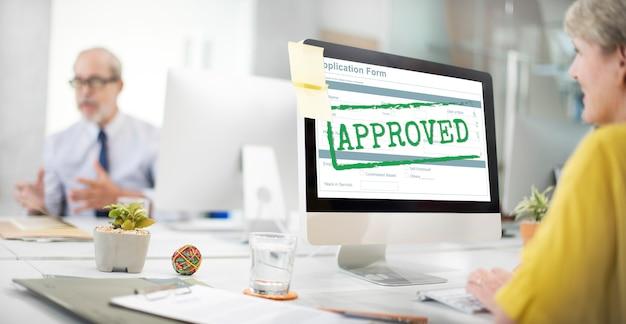 Conceito de validação de acordo permitido aprovado