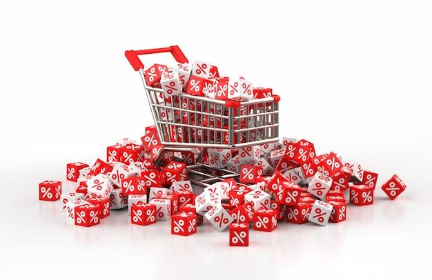 Conceito de venda com desconto com carrinho e uma pilha de cubos vermelhos e brancos com porcentagem na ilustração 3d