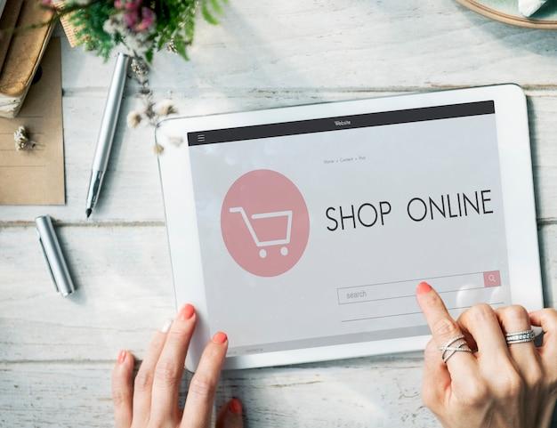 Conceito de venda da página inicial online da loja de comércio eletrônico