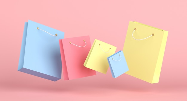 Conceito de venda de coleção de sacolas de compras coloridas. renderização 3d