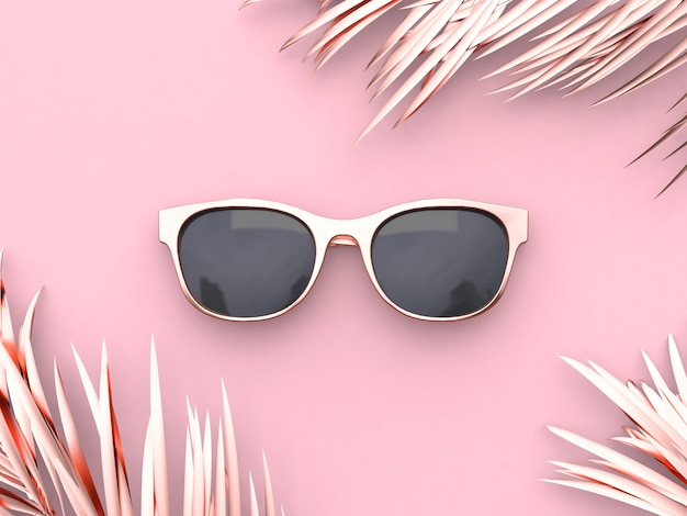 Conceito de verão abstrato rosa cena óculos renderização 3d