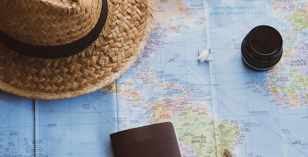 Conceito de viagem, acessórios para turismo,
