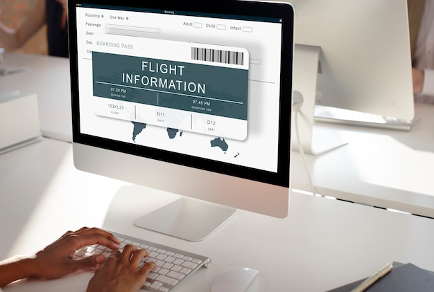 Conceito de viagem de voo online de reserva de bilhetes