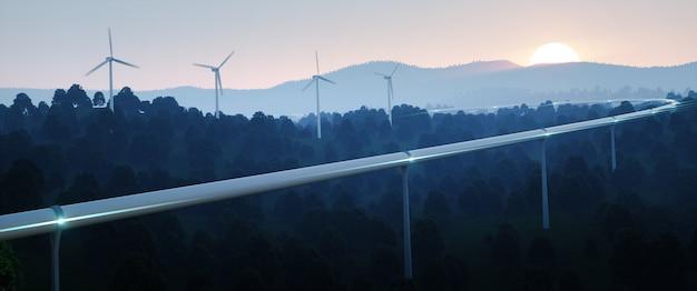 Conceito de viagem futurista e energia renovável. conceito de tecnologia de viagem de tubo de alta velocidade e turbinas eólicas no crepúsculo da noite. renderização 3d.