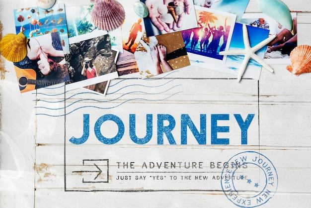 Conceito de viagem journey adventure post stamp