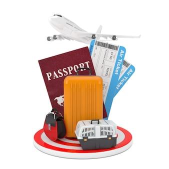 Conceito de viagens. avião de passageiro moderno, bagagem com passaporte e passagens aéreas sobre a placa circular de destino em um fundo branco. renderização 3d