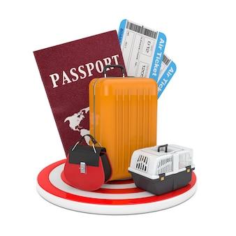 Conceito de viagens. bagagem com passaporte e passagens aéreas sobre a placa circular de destino em um fundo branco. renderização 3d
