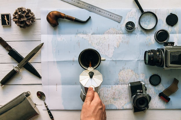 Conceito de viagens e café