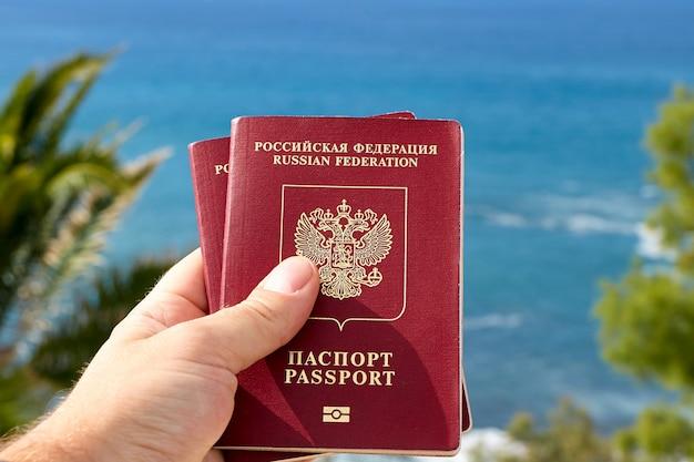 Conceito de viagens ou turismo, passaportes.