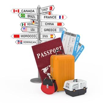 Conceito de viagens. placa de sinalização com vários nomes de países e bandeiras perto de passaporte, bilhetes de cartão de embarque de companhias aéreas e bagagem pronta para voar em um fundo branco renderização 3d