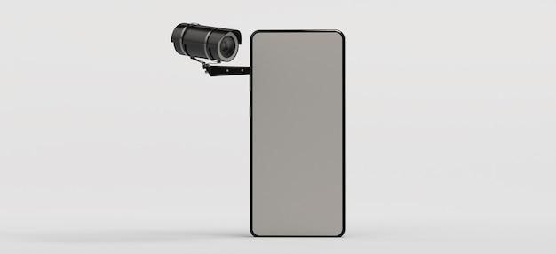 Conceito de videovigilância em smartphone telefone celular com câmera de segurança copie o espaço