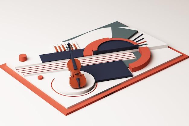Conceito de violino e instrumento musical, composição abstrata de plataformas de formas geométricas em tons de laranja e azul. renderização 3d