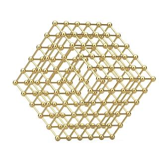 Conceito de visualização de dados digitais. abstract golden wireframe atom mesh cube em um fundo branco. renderização 3d