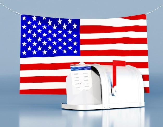 Conceito de voto nas eleições americanas com bandeira