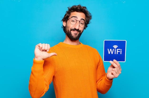 Conceito de wi-fi grátis para jovem barbudo