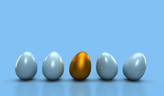 Conceito diferente da ideia, um ovo dourado com incandescência um do outro ovo na cor pastel ciana clara. ideia diferente do conceito da liderança