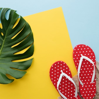Conceito do abrandamento das sandálias de flip flop das férias das férias de verão da praia