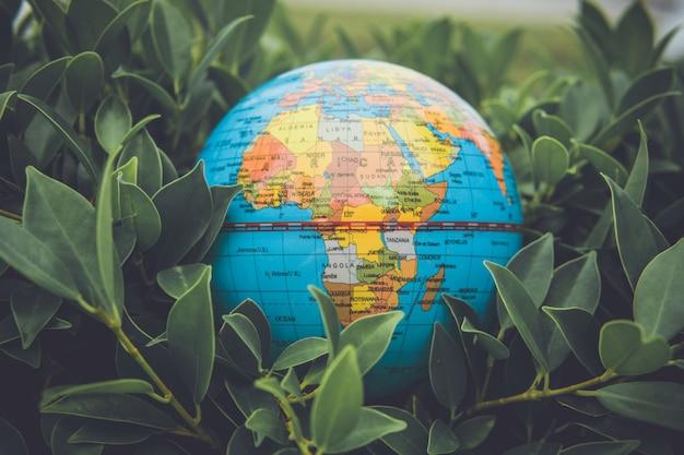 Conceito do ambiente, um globo na grama.