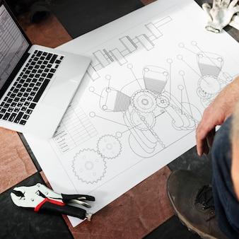 Conceito do blueprint do esboço do plano diretor da construção