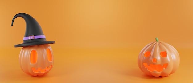 Conceito do dia do dia das bruxas sorriso fofo de fantasma de abóbora com chapéu de renderização 3d