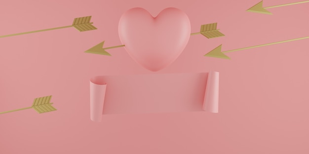 Conceito do dia dos namorados, balões de corações rosa com flecha dourada