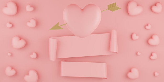 Conceito do dia dos namorados, balões de corações rosa com seta dourada