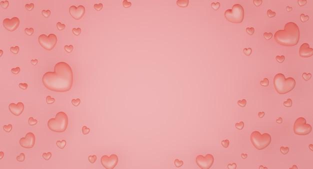 Conceito do dia dos namorados, balões de corações rosa