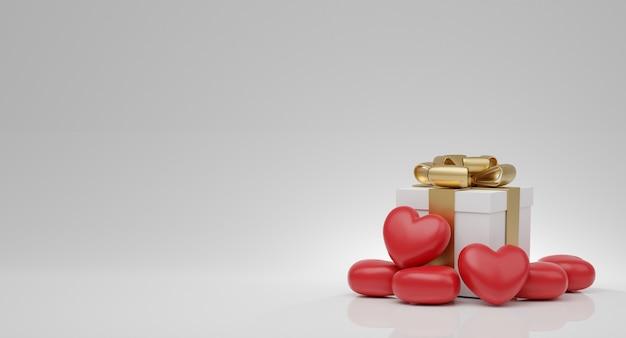 Conceito do dia dos namorados, balões de corações vermelhos