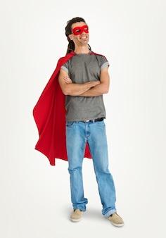 Conceito do divertimento do traje do super-herói
