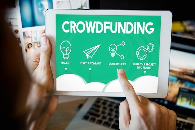 Conceito do gráfico de negócio da estratégia do plano do projeto de crowdfunding