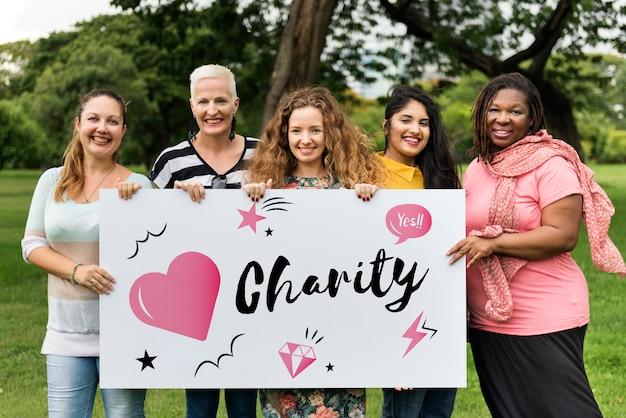Conceito do gráfico do coração da doação da caridade
