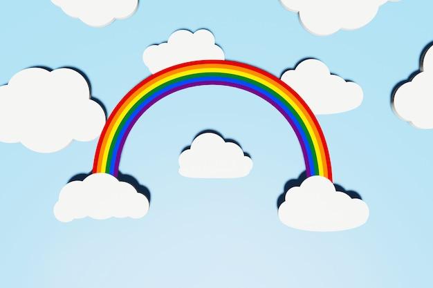 Conceito do orgulho lgbt. abstrato com arco-íris lgbt e nuvens planas brancas de forma diferente com sombras sobre o céu azul. layout criativo. copiar espaço, renderização 3d