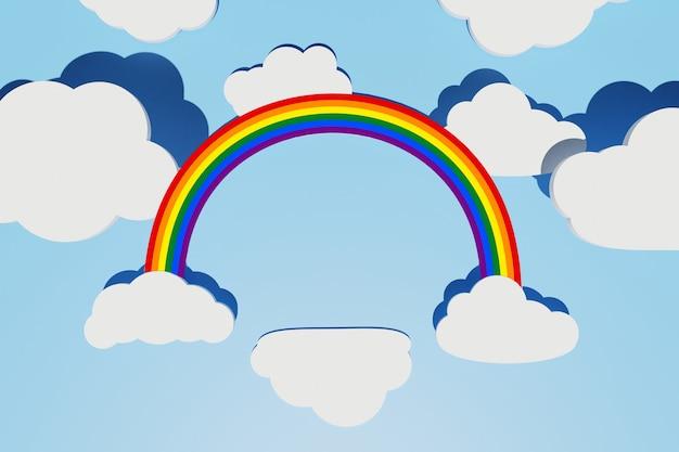 Conceito do orgulho lgbt. fundo abstrato com arco-íris lgbt, nuvem como pódio e nuvens planas brancas de forma diferente com sombras sobre o céu azul. layout criativo. copiar espaço, renderização 3d