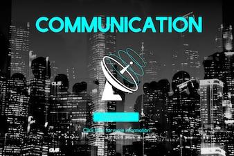 Conceito do satélite da telecomunicação da conexão da transmissão de uma comunicação