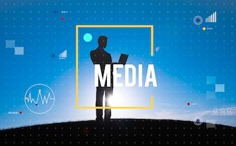 Conceito dos trabalhos em rede da tecnologia de Digitas da conexão de uma comunicação