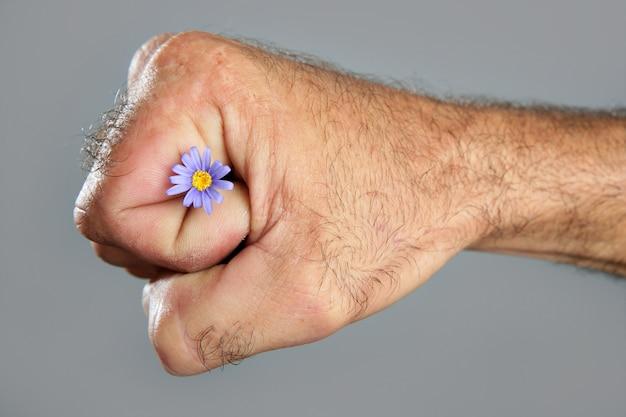 Conceito e contraste de mão de homem peludo e flor