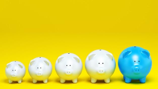 Conceito econômico de aumento de poupança com uma fileira de cofrinhos